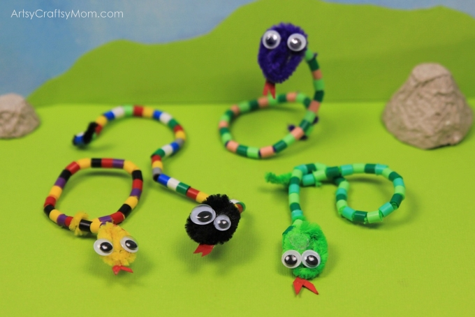 pipe cleaner and bead threading activity for kids that makes a snake