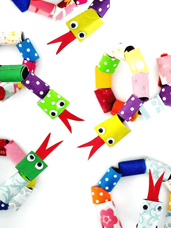 colorful paper strip snakes