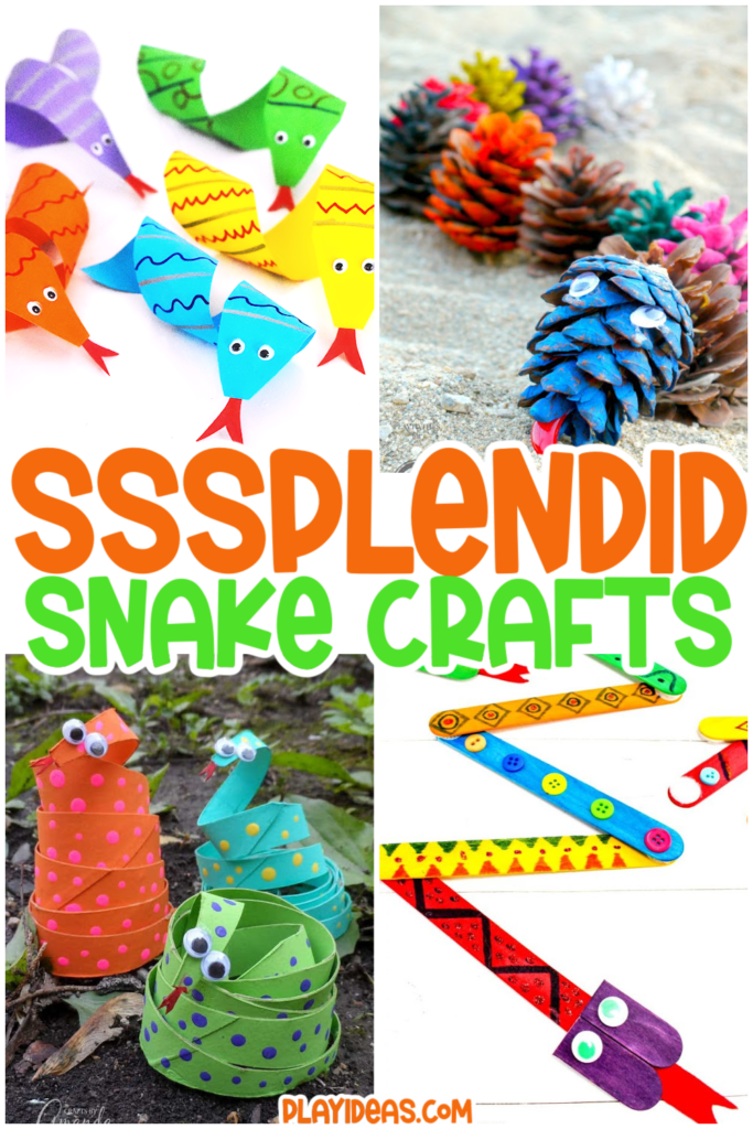 Ssssplendid snake crafts for kids - 4 different craft ideas or snake themed crafts pictured