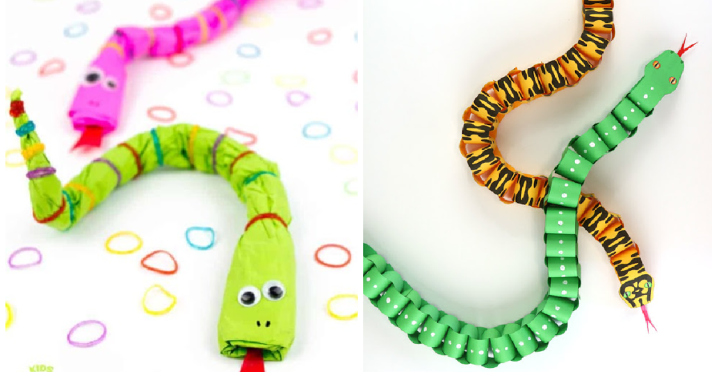 2 paper snake crafts for kids to make - one is paper and rubber bands and the other is paper chain