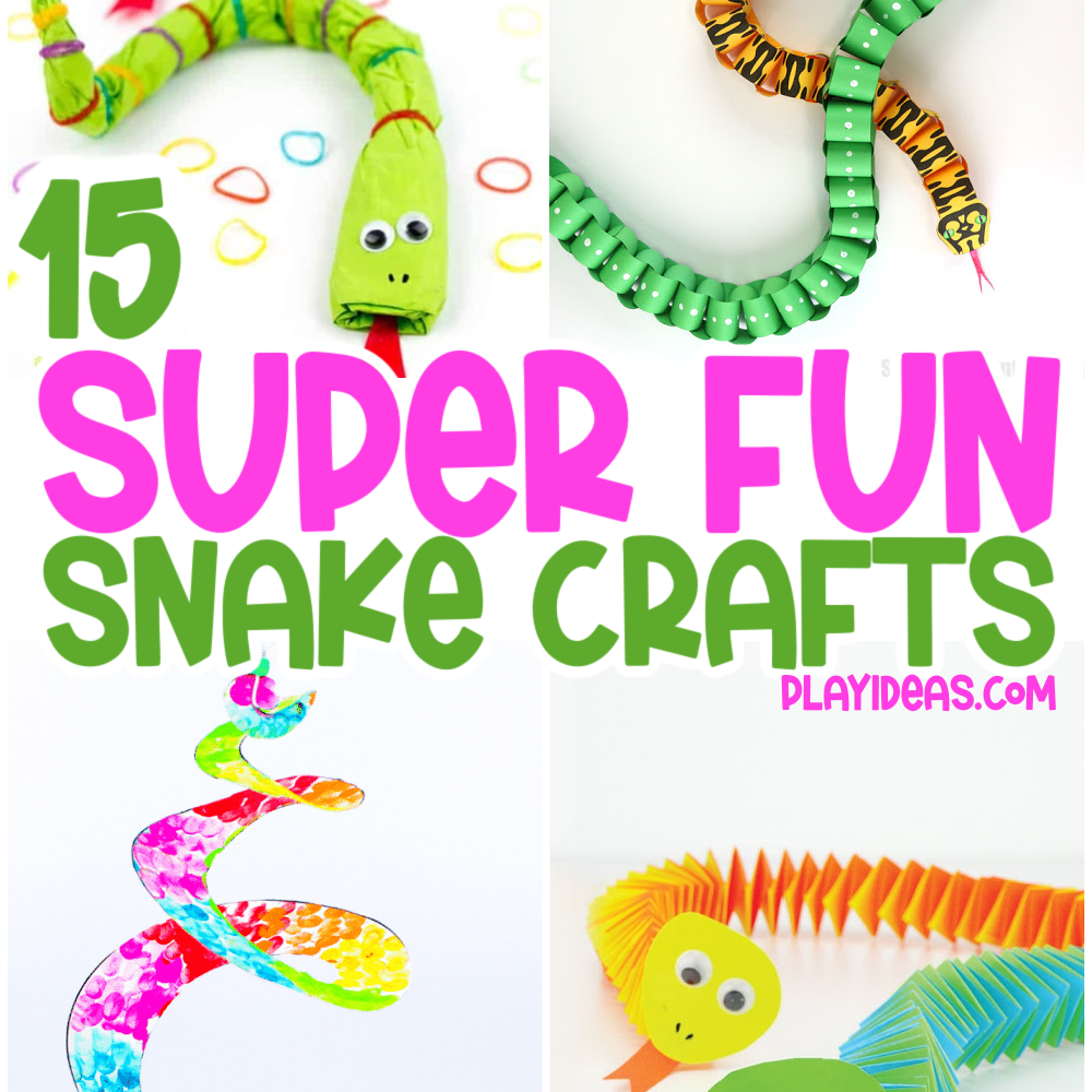 15 super fun snake crafts playideas.com - image shows 4 different paper snake craft ideas for kids