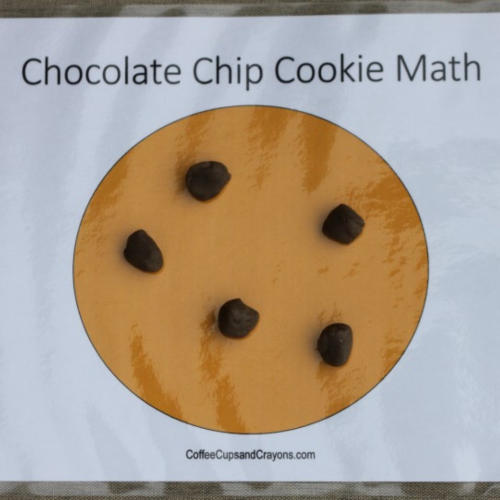 chocolate chip cookie math busy bag activity for kids using play dough