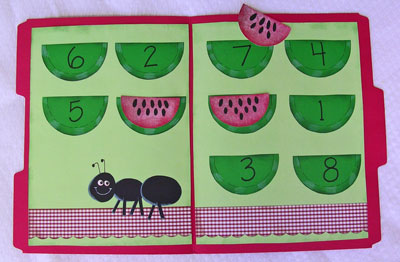 Watermelon file folder counting game with kids this summer!